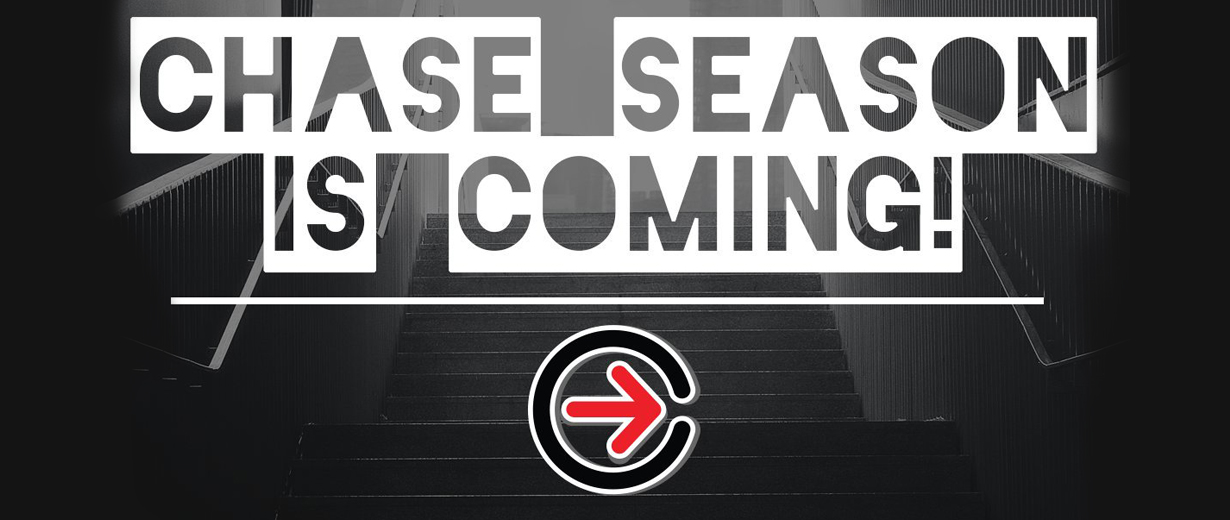 Image of City Chase logo superimposed over a dark stairwell with the text, 'chase season is coming'