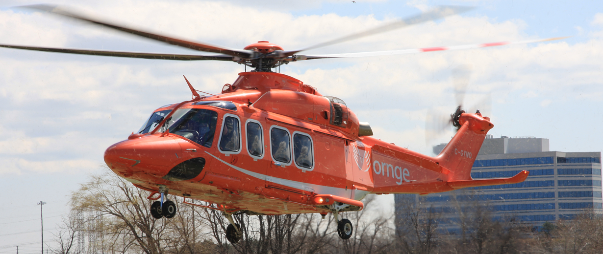 Ornge's AW139 aircraft landing at the Peel Police Airport Emergency Services Open House