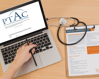 Image of Healthcare Partner on Laptop with PTAC screen and Clipboard with a Booking Patient Transport Form
