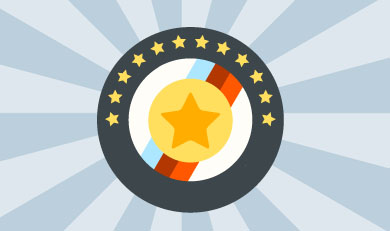 Cartoon patch with striped background