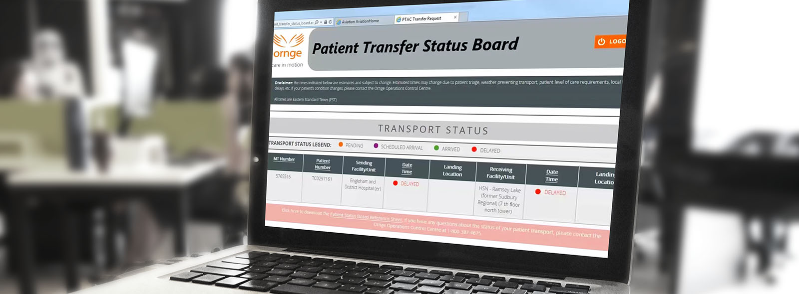 Sample Patient Transfer Status Board