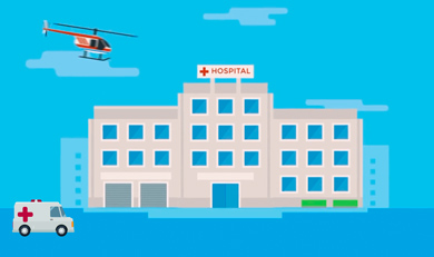 Helicopter and Hospital