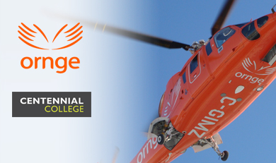 Ornge and Centennial logo's with aircraft