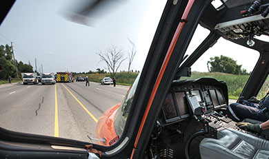Ornge helicopter at a trauma scene call