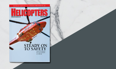 Helicopters magazine cover with belly of Ornge AW139