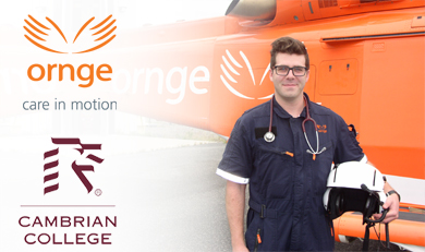 David Cocchiarella standing beside Ornge helicopter