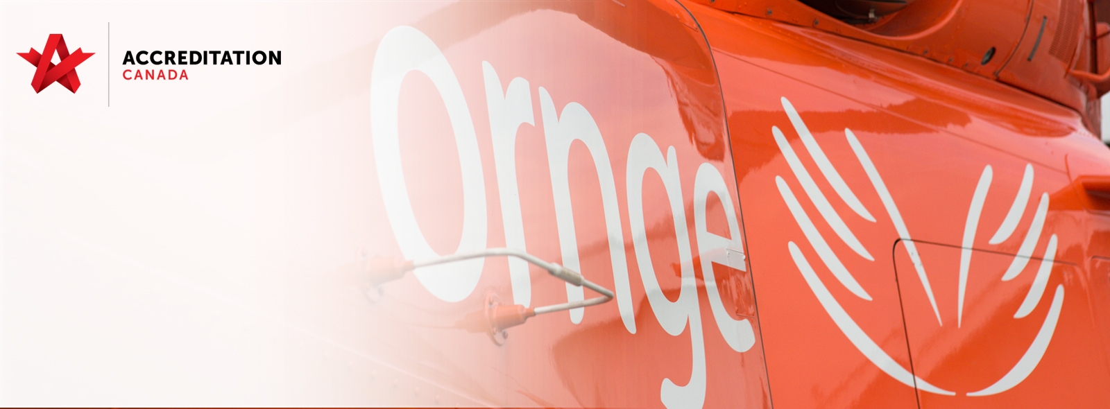 Accreditation Canada logo with Ornge Helicopter