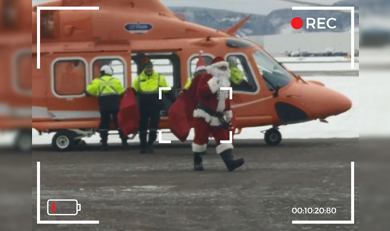 Santa and Ornge Helicopter