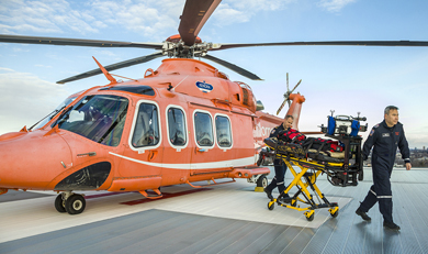Ornge Paramedics on roof of Sunnybrook Helipad