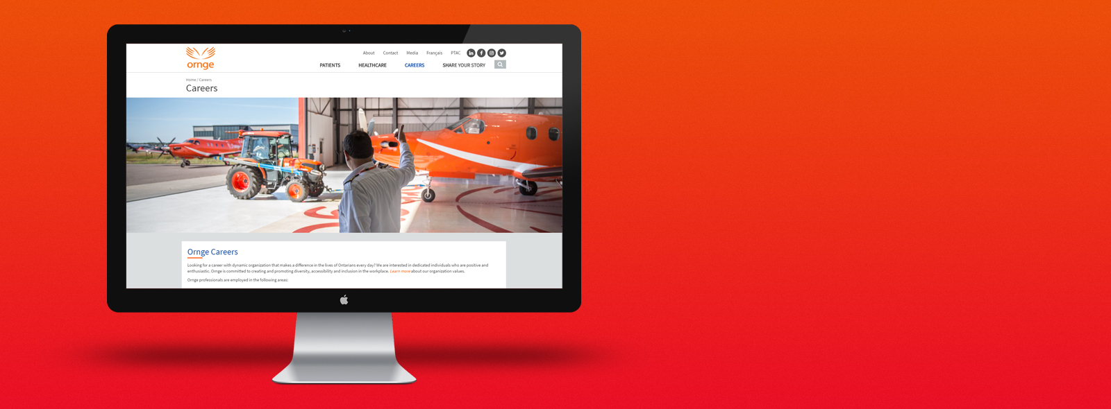 Mac Computer with Ornge Careers Page
